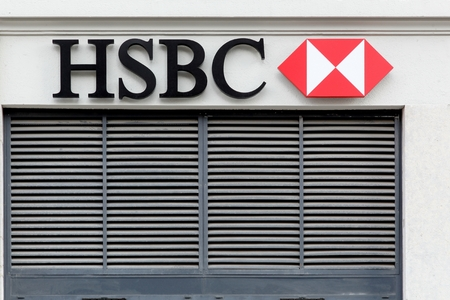 headquartered: Lyon, France - January 27, 2016: HSBC Holdings is a British multinational banking and financial services company headquartered in London, United Kingdom