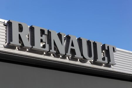 dealers: Aarhus, Denmark - January 17, 2016: Signage at Renault car dealers building in Aarhus. Renault is a french car manufacturer producing cars, vans, buses and trucks Editorial