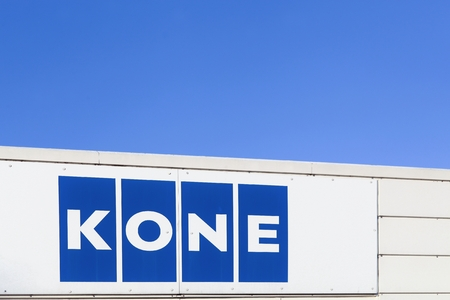 Aarhus, Denmark - January 17, 2016: Kone founded in 1910 and headquartered in Helsinki, Finland, is an international engineering and service company and one of the largest manufacturers of elevators and escalators worldwide Redakční