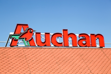 headquartered: Lyon, France - January 25, 2016: Auchan is a French international retail group and multinational corporation headquartered in Croix, France. It is one of the worlds principal distribution groups with a presence in 15 countries