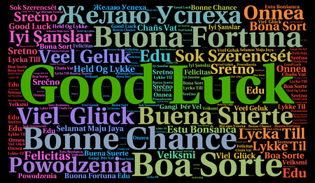 Good luck in different languages word cloud 写真素材