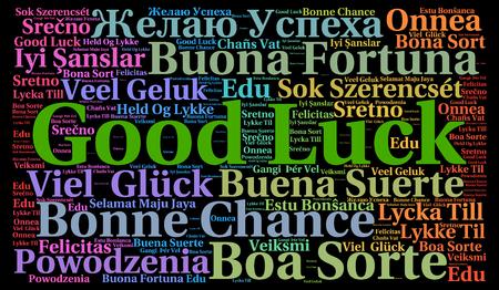 Veel succes in verschillende talen word cloud