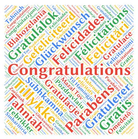 Félicitations dans différentes langues, mot, nuage