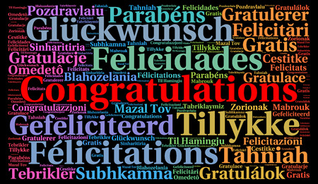 word cloud: Congratulations in different languages word cloud