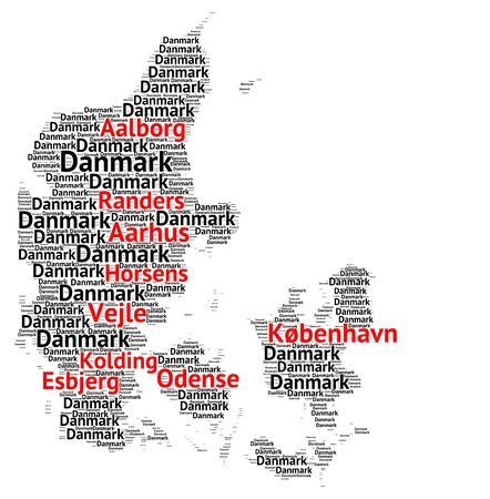 biggest: Map of Denmark with the biggest cities Stock Photo