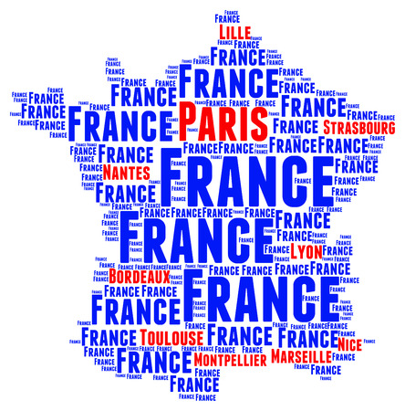biggest: Map of France with the biggest cities Stock Photo