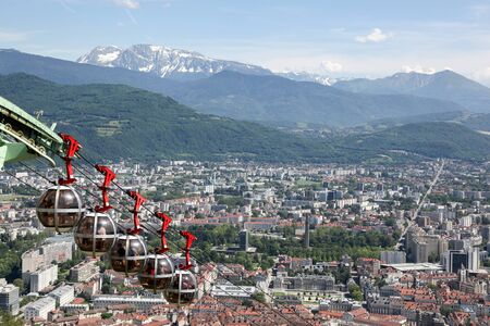 bastille: View of Grenoble from the Bastille fortress, France