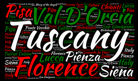 tuscany landscape: Tuscany in Italy word cloud concept