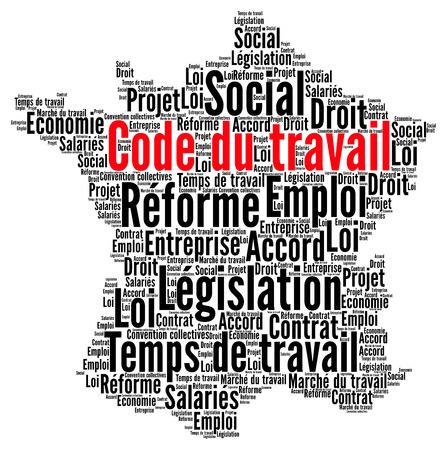 Hervorming van de arbeidswet in Frankrijk word cloud concept