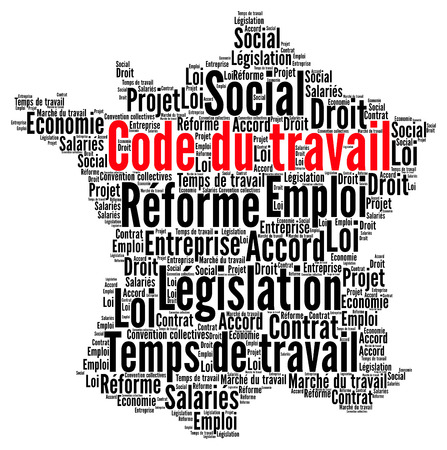 Reform of labour code in France word cloud concept