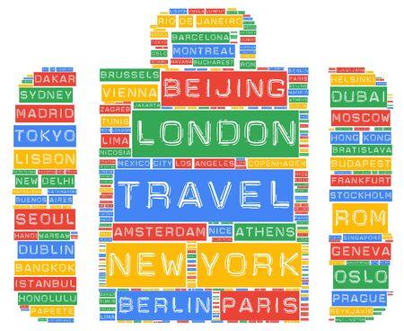 destinations: Global travel cities names destinations word cloud