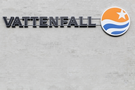 generates: Kolding, Denmark - February 28, 2016: Vattenfall is a Swedish power company, wholly owned by the Swedish government. Beyond Sweden, the company generates power in differents countries in Europe and is an industry leader in Northern Europe
