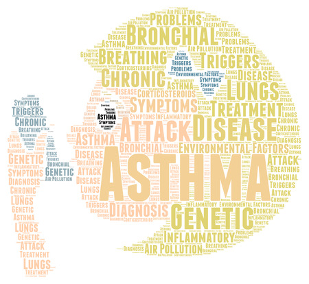 asthma inhaler: Asthma word cloud concept Stock Photo