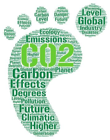 huellas: CO2 concepto de nube de palabras