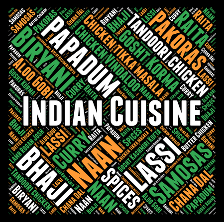 curry dish: Indian cuisine word cloud concept Stock Photo