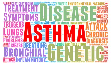 bronchial asthma: Asthma word cloud concept Stock Photo