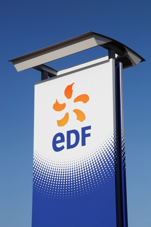 state owned: Saint-Vulbas, France - January 26, 2016: EDF is a French electric utility company, largely owned by the French state. Headquartered in Paris, France