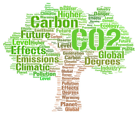 danger carbon dioxide  co2  labels: CO2 word cloud concept