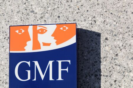 mutual: Villefranche, France - January 24, 2016: GMF sign on a wall. GMF is a mutual insurance company for civil servants Editorial