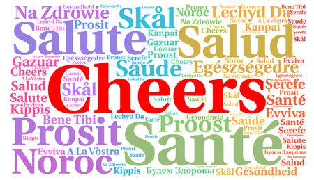 word: Cheers word cloud concept in different languages
