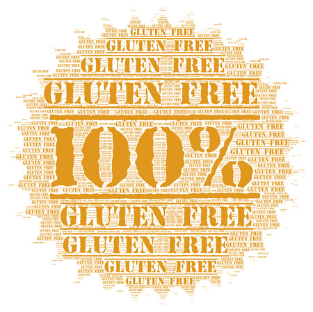 gluten: 100% gluten free button Stock Photo