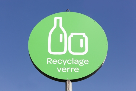 glass recycling: Glass recycling sign in France Stock Photo