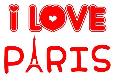 i love paris: I Love Paris illustration Stock Photo