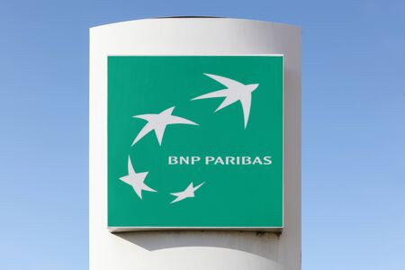 paribas: Villefranche, France - March 27, 2016: BNP Paribas is a French multinational bank and financial services company with global headquarters in Paris Editorial