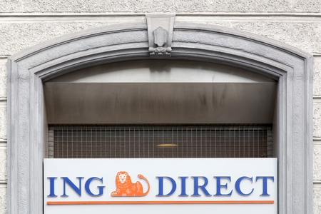 ing: Milan, Italy - April 13, 2016: ING Direct sign on a facade. The ING Group is a Dutch multinational banking and financial services corporation headquartered in Amsterdam Editorial