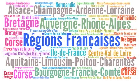 regions: Regions of France word cloud Stock Photo