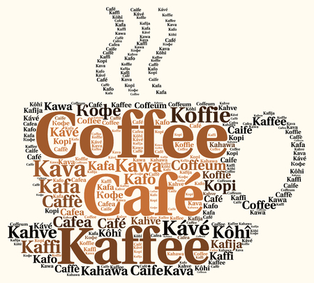 Coffee in different languages word cloud Stock Photo
