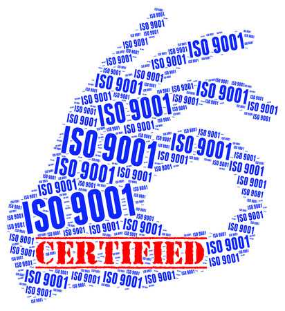 certified: ISO 9001 certified concept