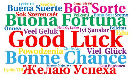 Veel succes in verschillende talen word cloud Stockfoto