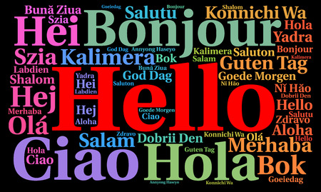 message cloud: Hello in different languages word cloud