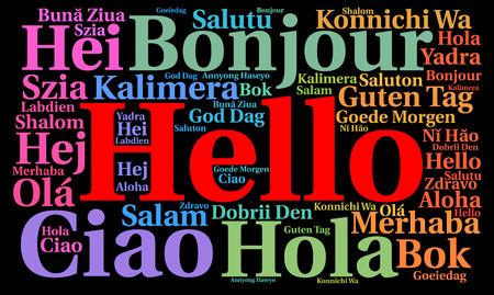 Hola en diferentes idiomas nube de la palabra