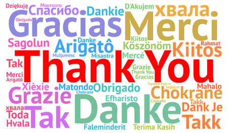Thank You illustration word cloud in different languages