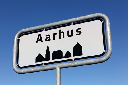 Aarhus city road sign in Denmark