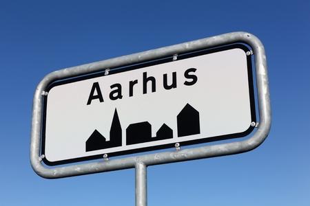 Aarhus city road sign in Denmark