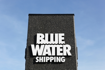 esbjerg: Esbjerg, Denmark - May 6, 2016: Blue Water shipping logo. Blue Water Shipping is a Danish transport and logistics company headquartered in Esbjerg Editorial
