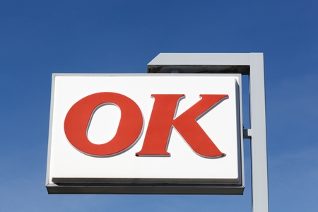 agri: Agri, Denmark - May 5, 2016: OK gas station logo on a pole. OK is the biggest selling petrol brand in Denmark Editorial