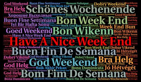 Avere un fine settimana bella in lingue diverse nuvola parola