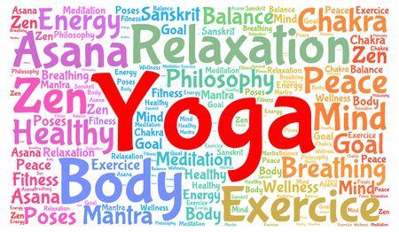 meditate: Yoga word cloud concept Stock Photo