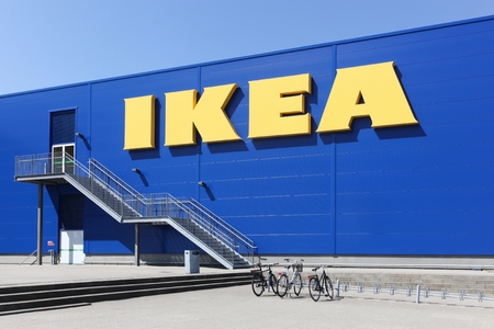 Aalborg, Denmark - May 8, 2016:  IKEA store in Aalborg. IKEA is a multinational group of companies that designs, sells ready-to-assemble furniture. IKEA owns and operates 353 stores in 46 countries