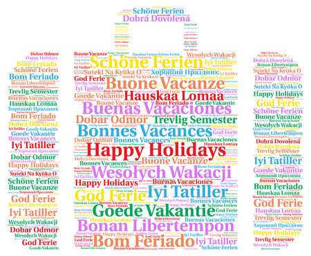 holidays: Happy holidays in different languages word cloud