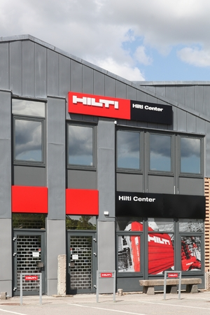 Aarhus, Denmark - May 16, 2016: Hilti store. Hilti is a Liechtenstein based company that develops, manufactures, and markets products for the construction, building maintenance, and mining industries