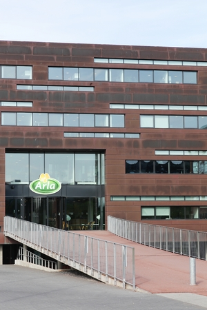 agro: Aarhus, Denmark - May 13, 2016: Arla Foods office building. Arla Foods is an international cooperative based in Aarhus, Denmark and the largest producer of dairy products in Scandinavia Editorial