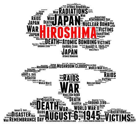 atomic: Hiroshima atomic bombing word cloud concept
