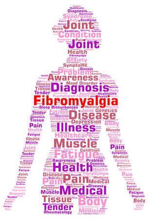 Fibromyalgia word cloud concept Stock Photo