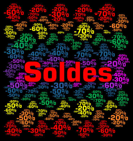 percentages: Sales with percentages word cloud concept in French Stock Photo