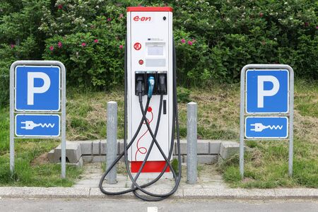 service providers: Vejle, Denmark - May 29, 2016: Eon charging point for electric cars. Eon is one of the worlds largest investor owned electric utility service providers and operates in over 30 countries